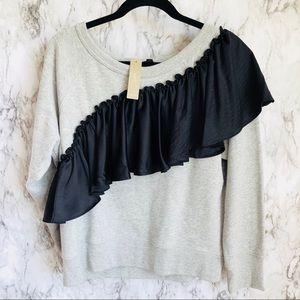 J. Crew Asymmetric Ruffle Sweatshirt Size L NWT
